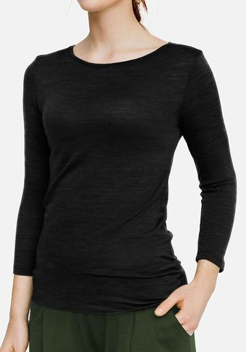 Merino wool long sleeve shirt | black