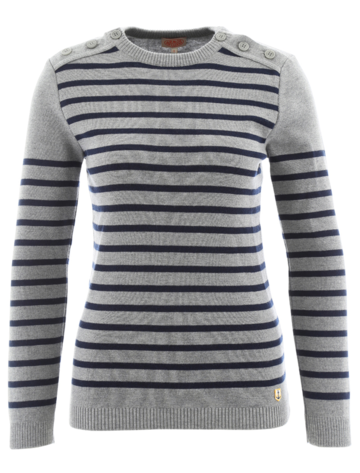 Buttoned Knit | grey/navy 100% merino wool