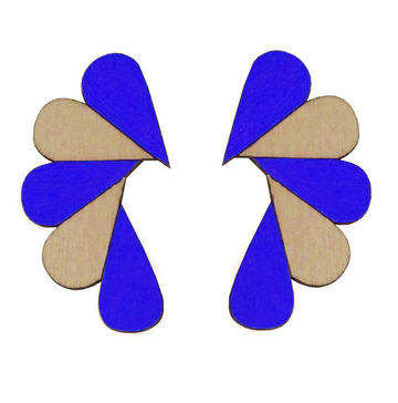 Cry Me A River earrings | blue/wood