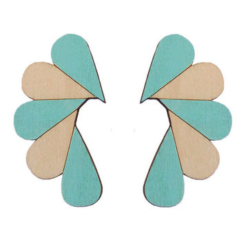 Cry Me A River earrings | mint/wood