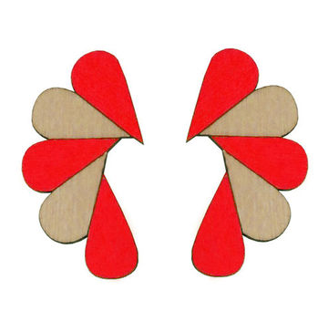 Cry Me A River earrings | red/wood