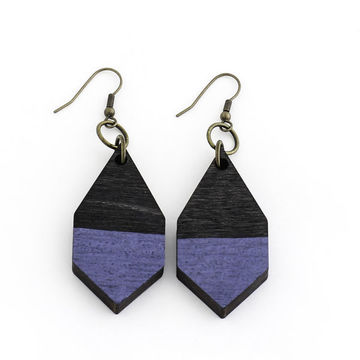Diamante earrings | black wood/hammered blue