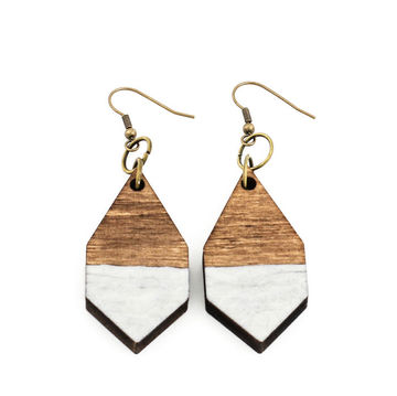 Diamante earrings | dark wood/hammered white