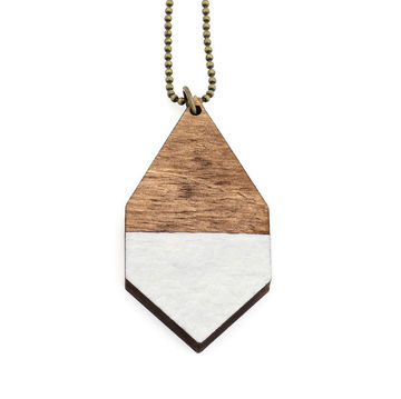 Diamante necklace big | dark wood/hammered white
