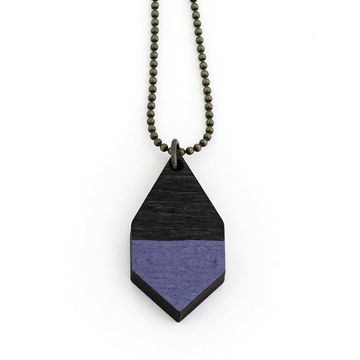 Diamante necklace small | black wood/hammered blue