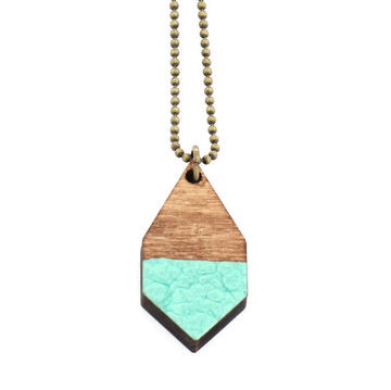 Diamante necklace small | dark wood/hammered mint
