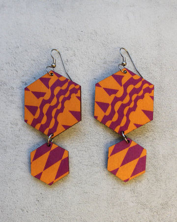 Geometric earrings | lilac/orange