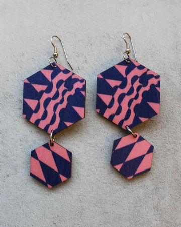 Geometric earrings | pink/blue