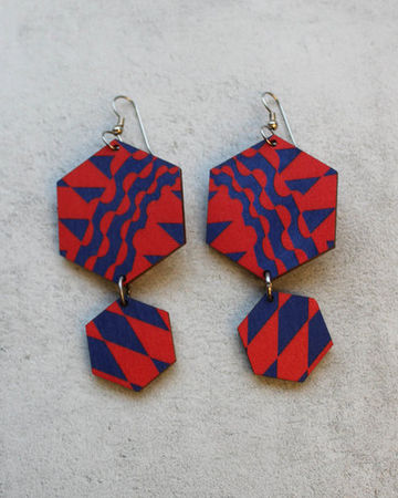 Geometric earrings | red/blue