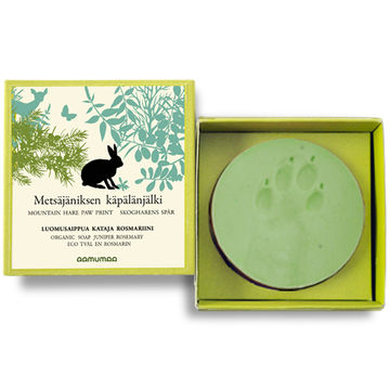 Mountain hare paw print organic soap | juniper-rosemary 85g