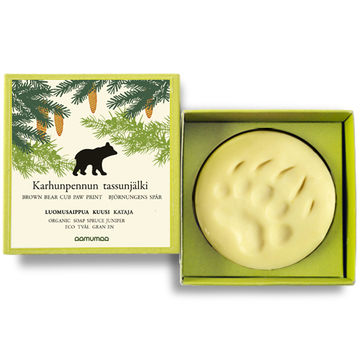 Brown bear cub paw print organic soap | spruce-juniper 85g