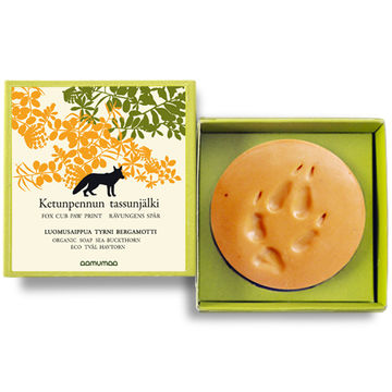 Fox cub paw print organic soap | sea buckthorn-bergamot orange 85g