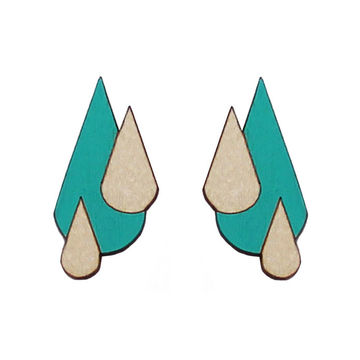 Let It Rain earrings | turquoise/wood