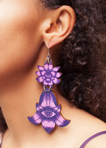 Totem Flowers earrings double dangle | bilberry/calluna