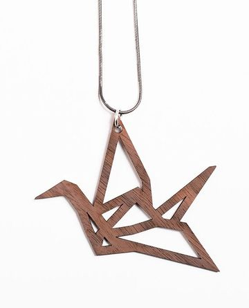 Origami Mini Swan pendant | walnut