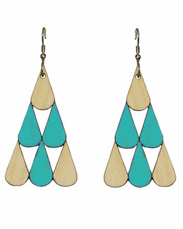 Tearpile earrings | turquoise/wood