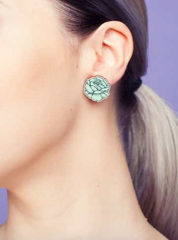 Rose stud earrings | sweet mint green