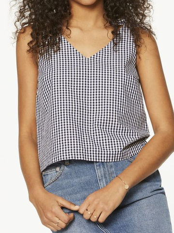 Inna Vichy top | dark cobalt-white