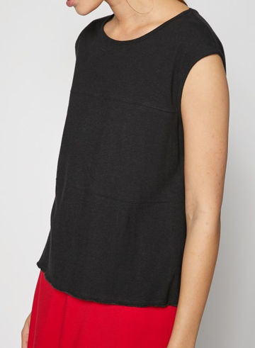 Hemp cotton jersey top | black