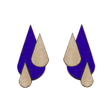 Let It Rain earrings | blue/wood