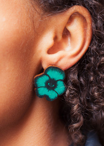 Totem Flowers stud earrings | jade green
