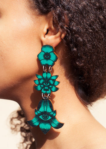 Flower Totem earrings triple stud | jade green