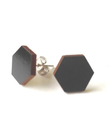 Hexagon stud earrings | black