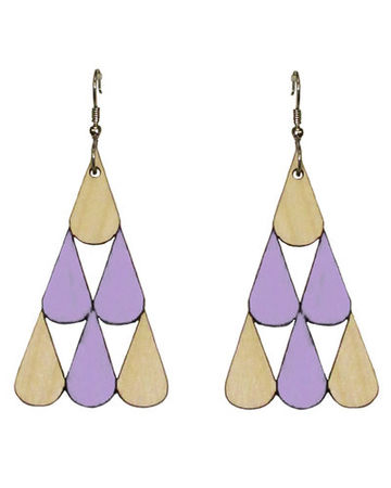 Tearpile earrings | lavender/wood