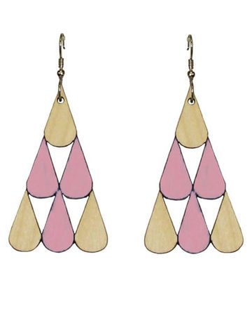 Tearpile earrings | rose/wood