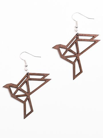 Origami Dove earrings | walnut